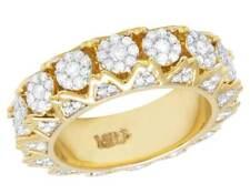 14K Yellow Gold Genuine Diamond Cluster Eternity Wedding Band Ring 2 3/10 CT 7mm