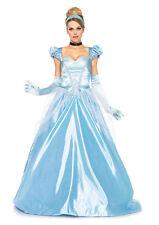 Cinderella Ladies 3 Pc Blue Satin Gown Ribbon Choker & Headband Costume Dress