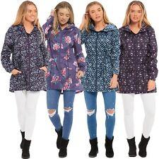 Ladies Printed Hooded Lightweight Polyester Waterproof Kagool Raincoats S-2XL