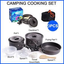 9pcs Cookware Travel Outdoor Camping Cooking Picnic Bowl Pot Pan Set Hiking Item