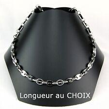 collar de cadena calabrotes Bicolor NEGRO 6,5mm acero inoxidable a elegir