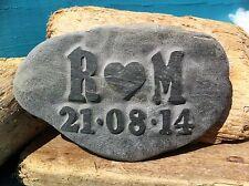 Personalized Love stone, hand carved, beach wedding anniversary gift, Cornish