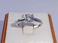 Damen Sterling 925er Feiner Silber Brillant Cut Weisser Saphir Solitär Ring