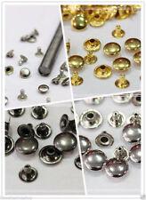 Da 50 a 1000pz borchie piatte scelta argento/oro/nero /bronzo 10mm + punzone