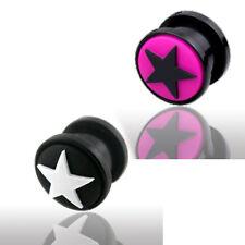 Stern Kunststoff Flesh Tunnel Ohr Piercing schwarz weiß pink leicht zu tragen