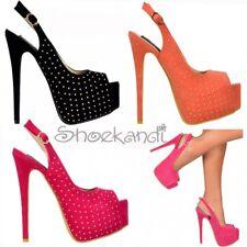 Womens Studded Slingback Stilettos Peep Toe High Heels Fuchsia Pink Coral Black