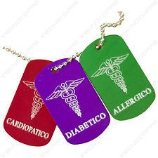 Medaglietta sanitaria salva vita. GRATIS Incisione di dati e patologie
