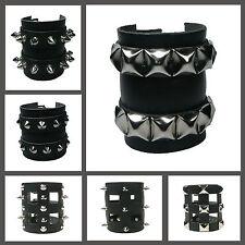 Cloutées noir gothique élégant handcuff bracelet bracelet cuir véritable made in uk