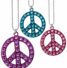 Peace Kette mit Steinchen Glitzer Hippie Kostüm Fasching Anhänger 124619713