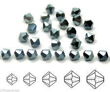 Czech MC Glass Bicone Beads (Rondell/Diamond) Jet Celsianite Full metallic cryst