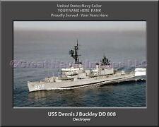 USS Dennis J Buckley DD 808 Personalized Canvas Ship Photo Print Navy Veteran