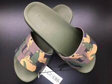 f83f1bffa98ad GUESS Men's GM ECKHART-C Green Multi SY Script Slide Sandal 7/8/