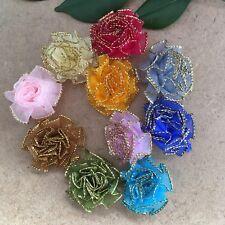 10pcs Organza Ribbon Flower Carnation Glitter Appliques wedding Lots #394