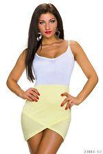 SeXy Stretch Minikleid Asymmetrisch Sommerkleid Strandkleid weiß gelb 34 36 XS S