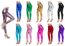 Metallic Leggings Stretchy Pants Neon Fluro Shiny Glossy Dress Up Dance Party