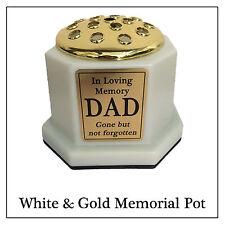 White & gold memorial vase-personalised pot de fleur, or texte plaque de tombe