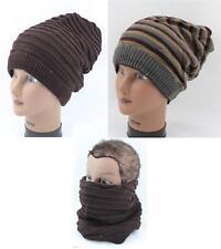 Reversible Open Top Beanie Snow Ski Acrylic Slouchy Hat Cap Face Mask KP-33 D56
