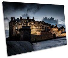 Edinburgh Castle Night Picture SINGLE CANVAS WALL ART Print