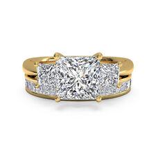 2.60 ct Natural Diamond Ring Sets Solid 14kt Gold Princess Cut All Size M O P
