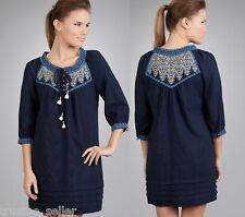 NWT Juicy Couture Fashion Bella Embroidery Boho Regal Blue Tunic Sun Dress