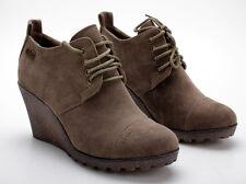 Buffalo Pumps 324565 Suede Taupe 01 Keil Ankle Boots Wildlederoptik