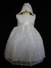 white Newborn Baby Girl 2pc Christening Baptism Dresses Gown Bonnet