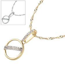 Collier 375 Gold Weißgold Diamanten Brillanten Anhänger Halskette rund Kreis