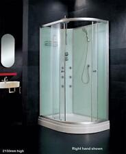 1200 x 800mm Offset Quad Corner Shower Cabin mixer jets waste tray base no tiles