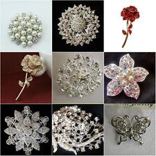 Rhinestone Wedding  Crystal Diamante Rose Flower Bridal Brooch