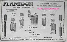 PUBLICITE FLAMIDOR BRIQUET PARISIEN BOUGIE CRAYON DE 1913 LIGHTER FRENCH AD PUB