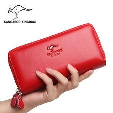 Kangaroo Kingdom Brand Women Wallet Genuine Leather Long Purse Women Clutch Bag