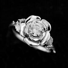 Forever One Moissanite Leaves Rose Flower Organic Style Engagement Ring