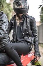 Brand New Womens Genuine Real Motorcycle Lambskin Leather Slim Fit Biker Jacket