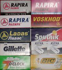 Voskhod Rapira Gillette Sputnik Astra Ladas Bic 100 Double Edge Razor Blades