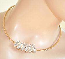 GIROCOLLO donna COLLANA ORO ciondolo strass collarino rigido collier collar 290