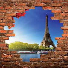 Sticker mural trompe l'oeil mur de pierre déco Tour Eiffeil réf 869