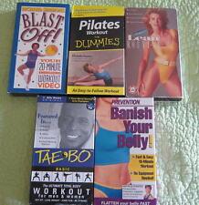LOT Exercise VHS Videotapes Fonda Simmons Pilates Tae Bo Blanks Videos Belly