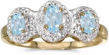 14k ovalado de oro amarillo AGUAMARINA Y Anillo Diamante Tres Piedras