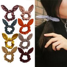 Cute Women Girls Bunny Ear Scrunchies Elastic Knot Bow Hair Ring Tie Hair Band