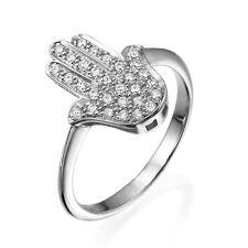 Studded Stacking Ring Shiny 12x15 mm 14k White Gold Large Hamsa Ring Diamond