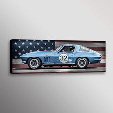 Chevrolet Corvette Racecar Flag Graphic Car Art Automotive Wall Art Canvas Print
