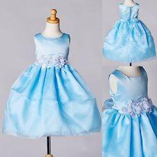 Baby Blue Organza & Satin Dress Flower Girl Summer Birthday Recital Toddler #35