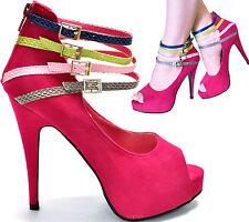 New women's shoes peep toe pump high heel stilettos back zipper fuchsia hot pink