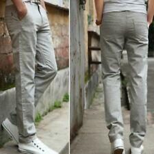 2017  Men Linen Elastic Straight Leg Casual Trousers Pants Thin Slim Fit Soft