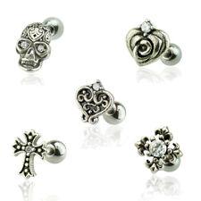 925 Silber Piercing Tragus Helix Kreuz Totenkopf Rose Fleur De Lis Herz Zirkonia