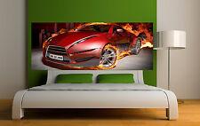 Adesivo testa de letto decorazione da muro Auto in fiamme ref 3648 5 dimensioni