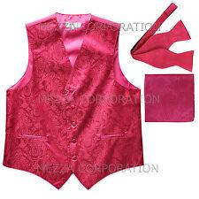 New Men's hot pink vest Tuxedo Waistcoat self tie bow tie and hankie set party