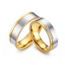 Edelstahl Verlobungsringe Partnerringe  Freundschaftsringe Gold / Silber