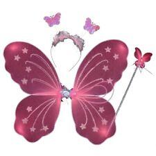 3Pcs Kids Girls Fairy Butterfly Wing+Wand+Headband Set Party Princess Costume