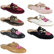 Embroidered Flower Horsebit Ornament Loafer Flat Slide Mules Slipper Sandal Shoe